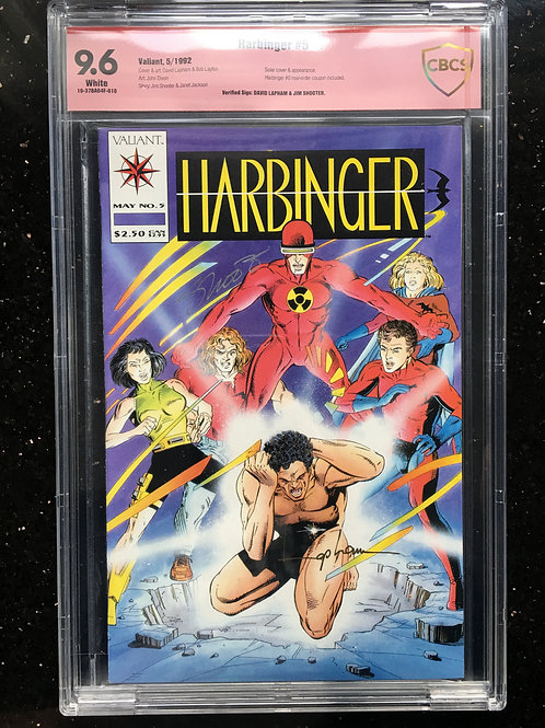 Harbinger #5 CBCS 9.6 Jim Shooter, David Lapham signed