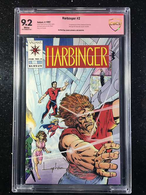 Harbinger #2 CBCS 9.2 Jim Shooter, David Lapham verified signature