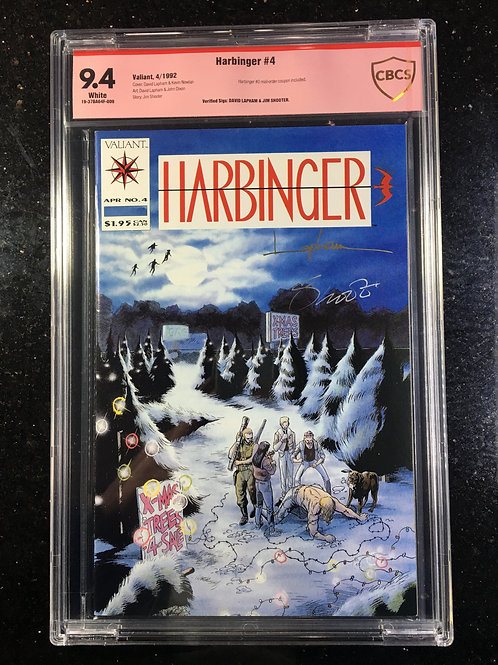 Harbinger #4 CBCS 9.4 Jim Shooter, David Lapham verified signature