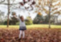 girl dress falling leaves