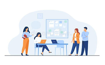 colleagues-working-together-project-flat-vector-illustration-cartoon-employees-sharing-ide