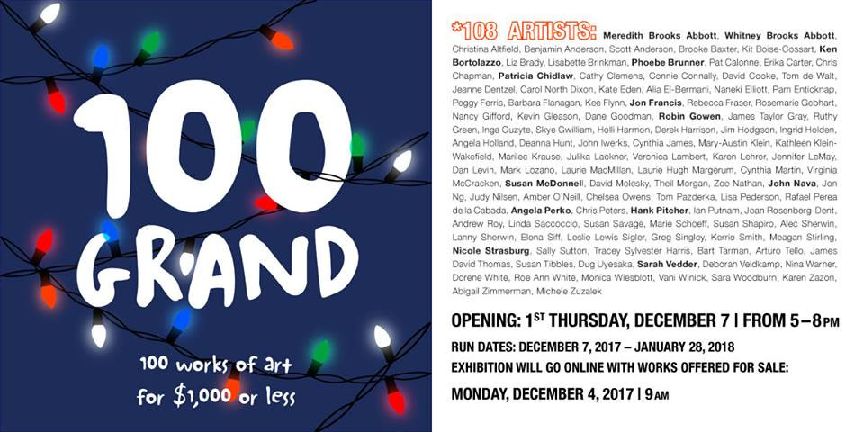 Don't miss this one. 100 GRAND Opening Thursday Dec 7!  Hope to see you there!
