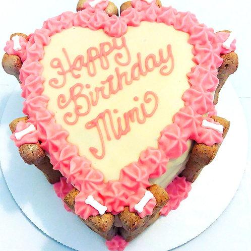 Heart dog cake