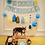 Sugar free paw print dog cake with the birthday Husky dog.
