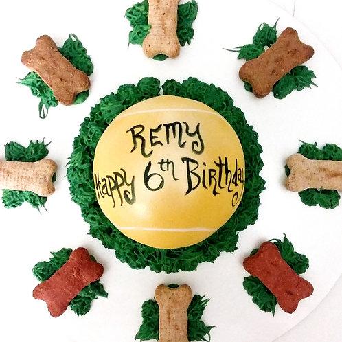 Tennis ball dog cake