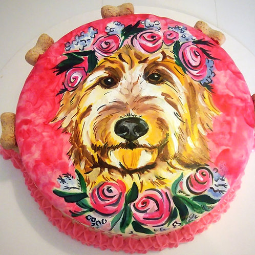 Hand Painted portrait dog cake