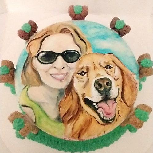 hand painted dog cake
