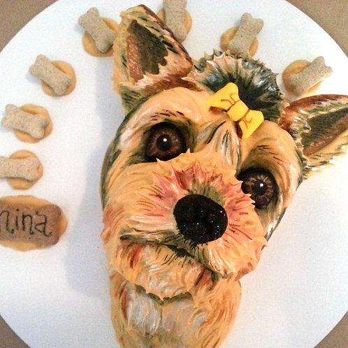 """Sculptured Pup Portrait"" Dog Cake"