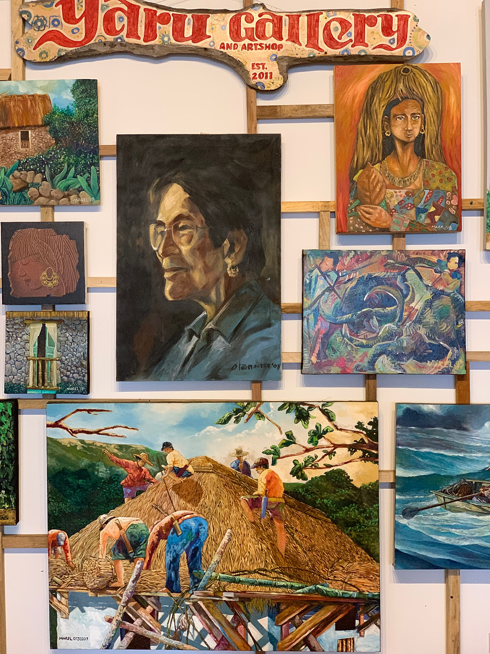Artworks featuring Ivatan portraits and daily life in Batanes made by the locals.