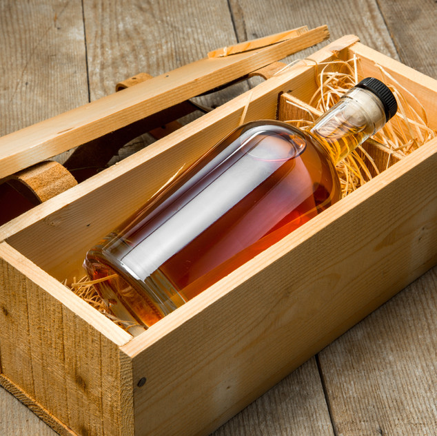 Liquor in a wood box
