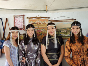 mongolian girls with traditional accessories