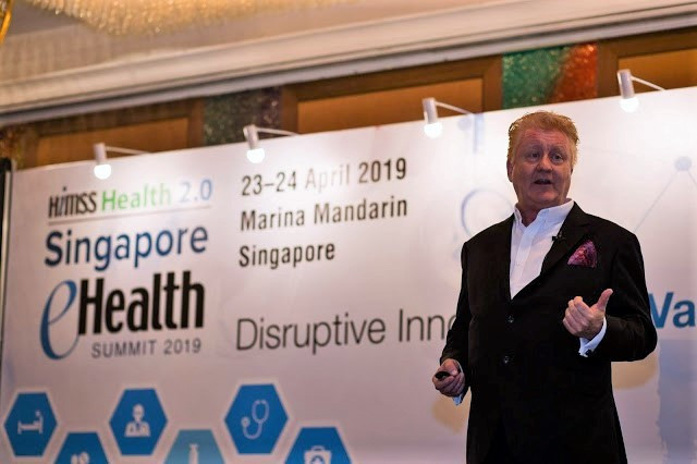 Richard Staynings, Cylera's Chief Security Strategist addresses the Singapore eHealth Summit. Photo: Dean Koh