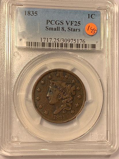 1835-P Small 8 Stars PCGS VF25