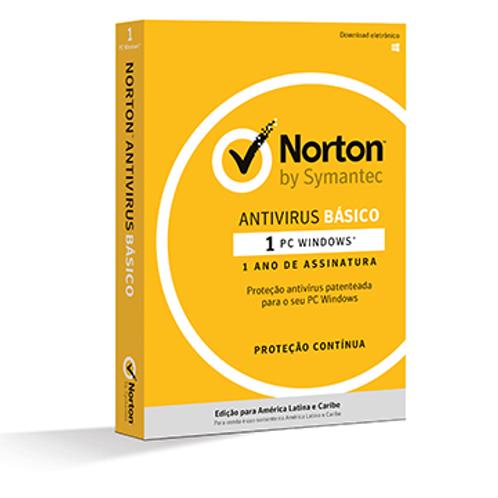 LICENCA NORTON ANTIVIRUS BASIC 1 USER 1 DEVICE 1 ANO CARD