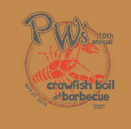 PW's 10'th Annual Crawfish Boil and Barbecue shirt design