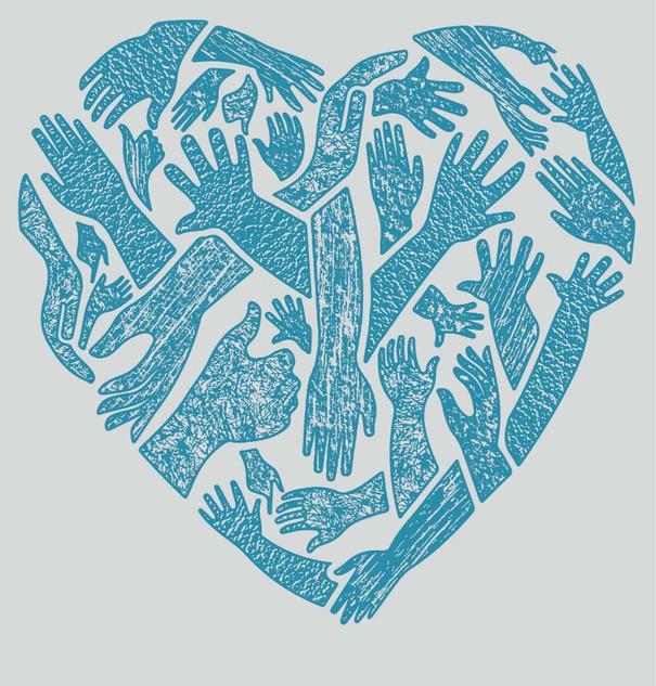 Helping Hands Heart nature textures shirt design