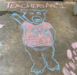 Teachers are #1 chalk drawing