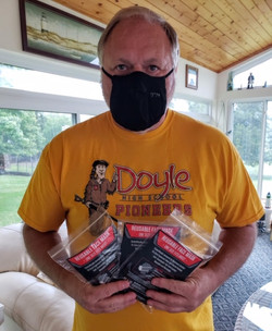 Face mask man wearing Doyle High School Pioneers remember shirt