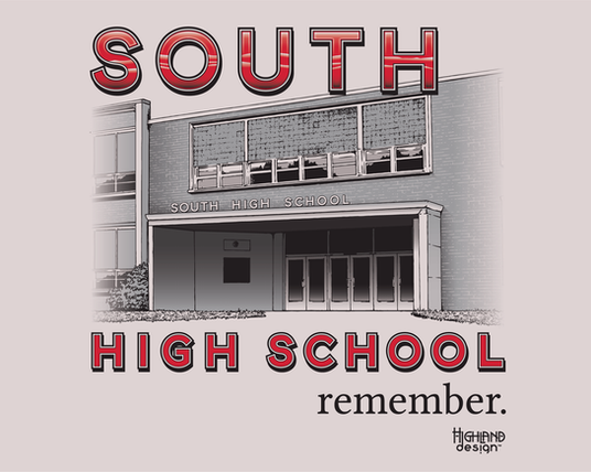 South High School photo building tee