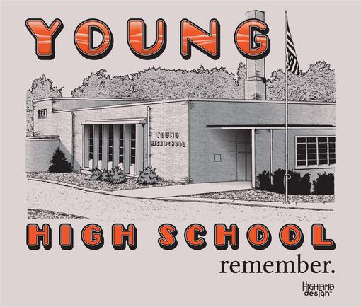 Yougn High School photo building tee