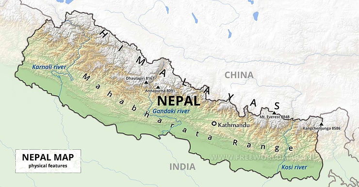 Map of the physical geography of Nepal