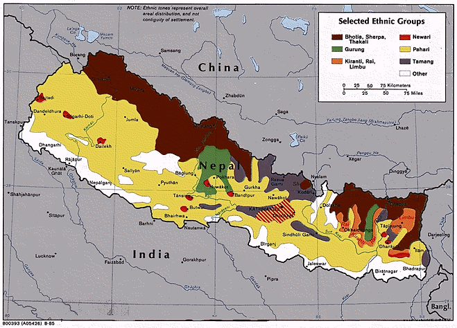 Map of the ethnic groups of Nepal
