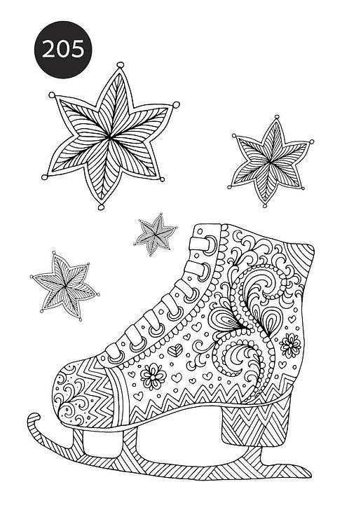 גיליון צביעה ענק לכריסמס - נעלי החלקה