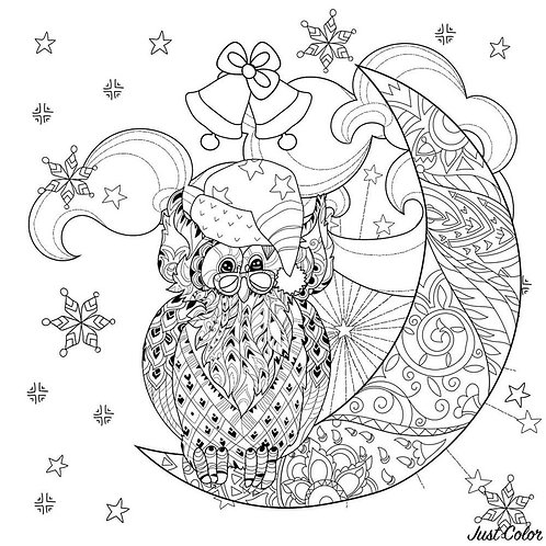 גיליון צביעה ענק - ינשוף על ירח