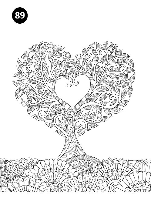 גיליון צביעה ענק - עץ לב