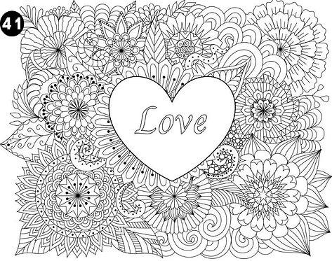 גיליון צביעה ענק - פרחים עם לב