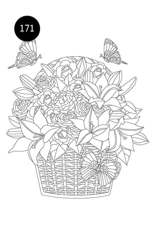גיליון צביעה ענק-סלסלת פרחים