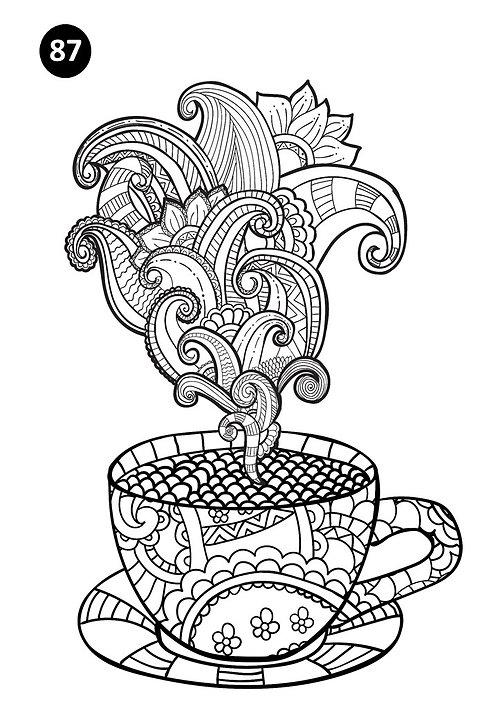 גיליון צביעה ענק - עציץ בקפה