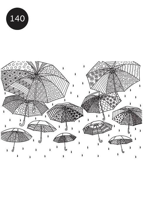 גיליון צביעה ענק לחורף - מטריות