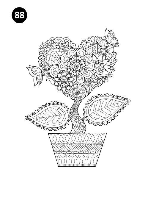 גיליון צביעה ענק - עציץ ופרח