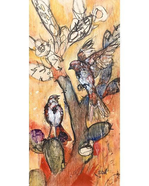 """Desert Sparrow Song,  11""""x5.75"""" gloss print"""