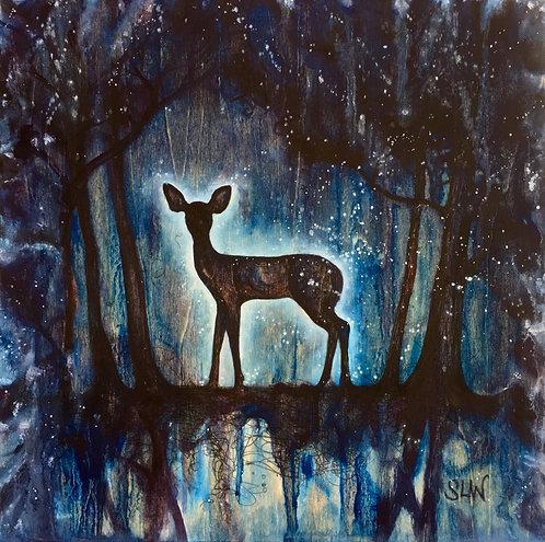 "Star Deer, 8""x8"" gloss print"