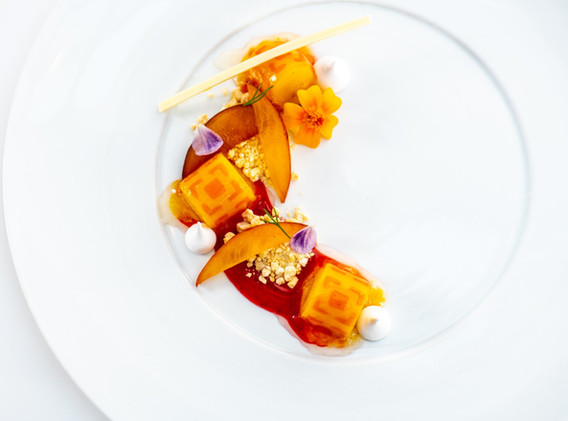 Bridget Bray - (NK) PLATED DESSERT Peach & Strawberry Sorbet l Plum l White Chocolate l Me