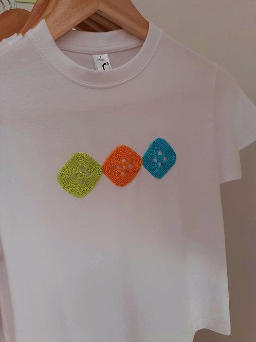 T-shirt Adulto Motivo Verde, Laranja e Azul