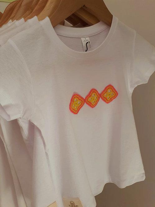 T-shirt Adulto Motivo Rosa e Amarelo
