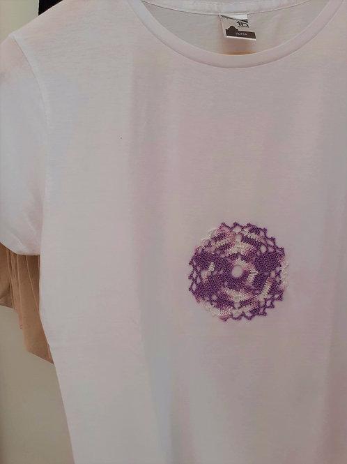 T-shirt Criança Rosácea Lilás e Branca