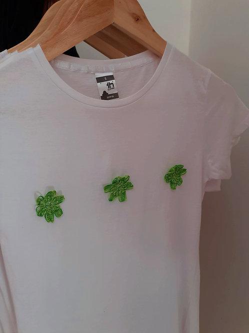 T-shirt Criança Flores Verdes