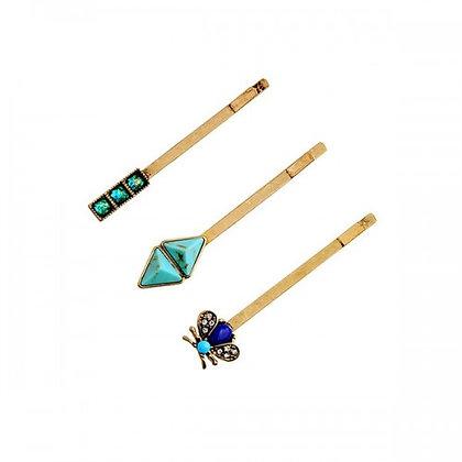 Crystal Turquoise Arrowhead Hair Clip Set