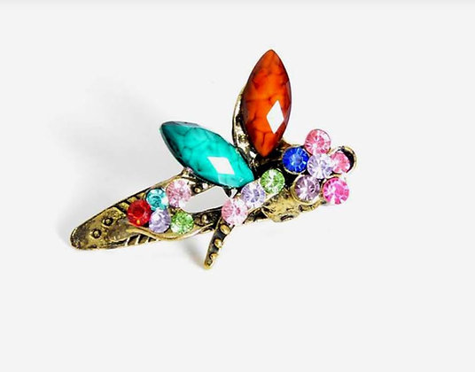 Colorful Crystal Rhinestone Dragonfly Hair clips 3 per set