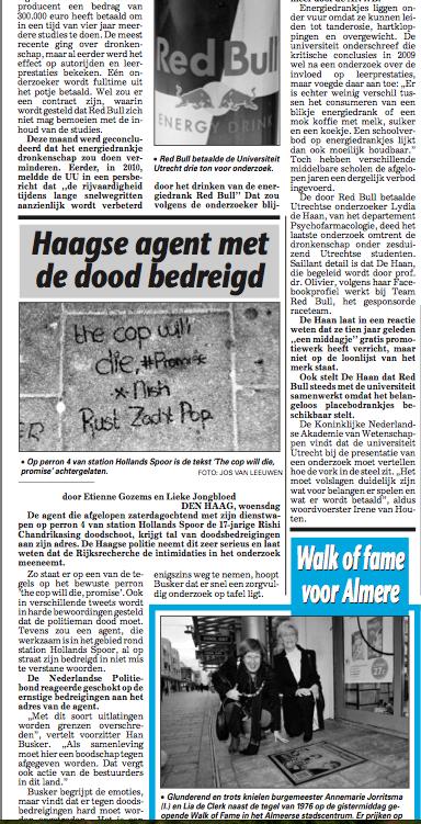 Agent met dood bedreigd 28 november 2012