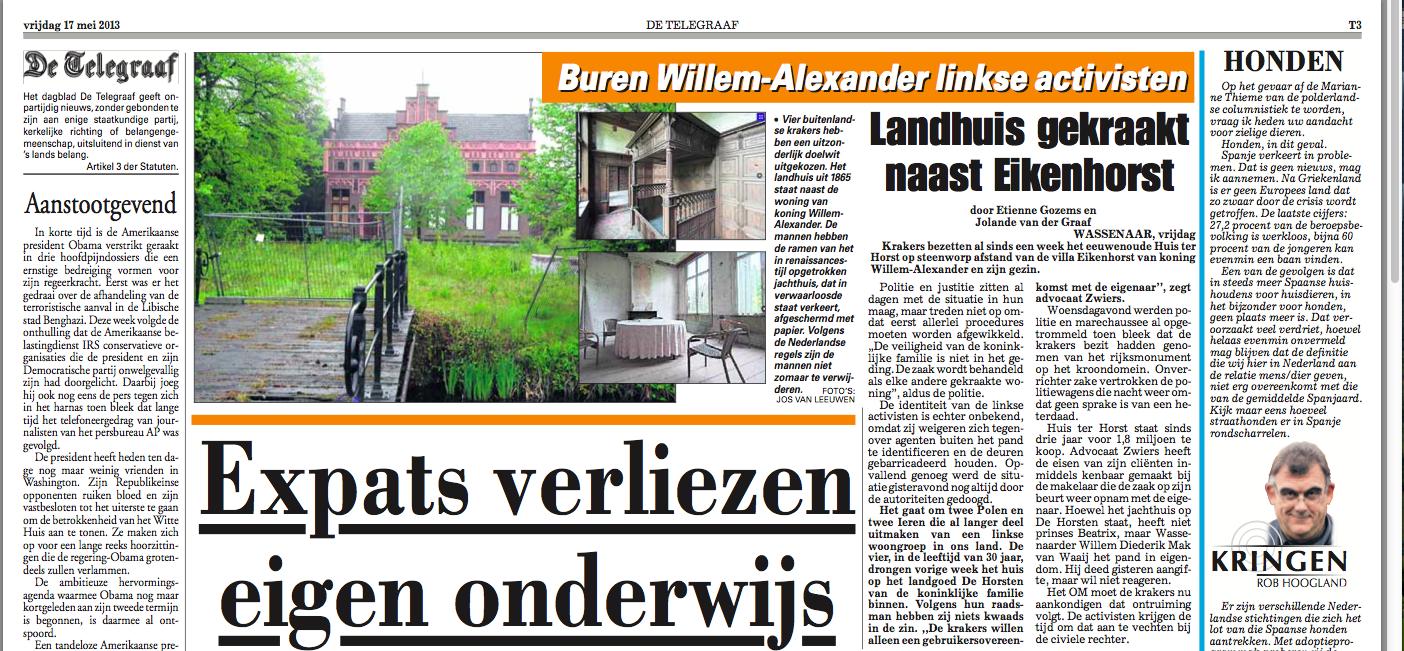 Landhuis gekraakt naast Eikenhorst