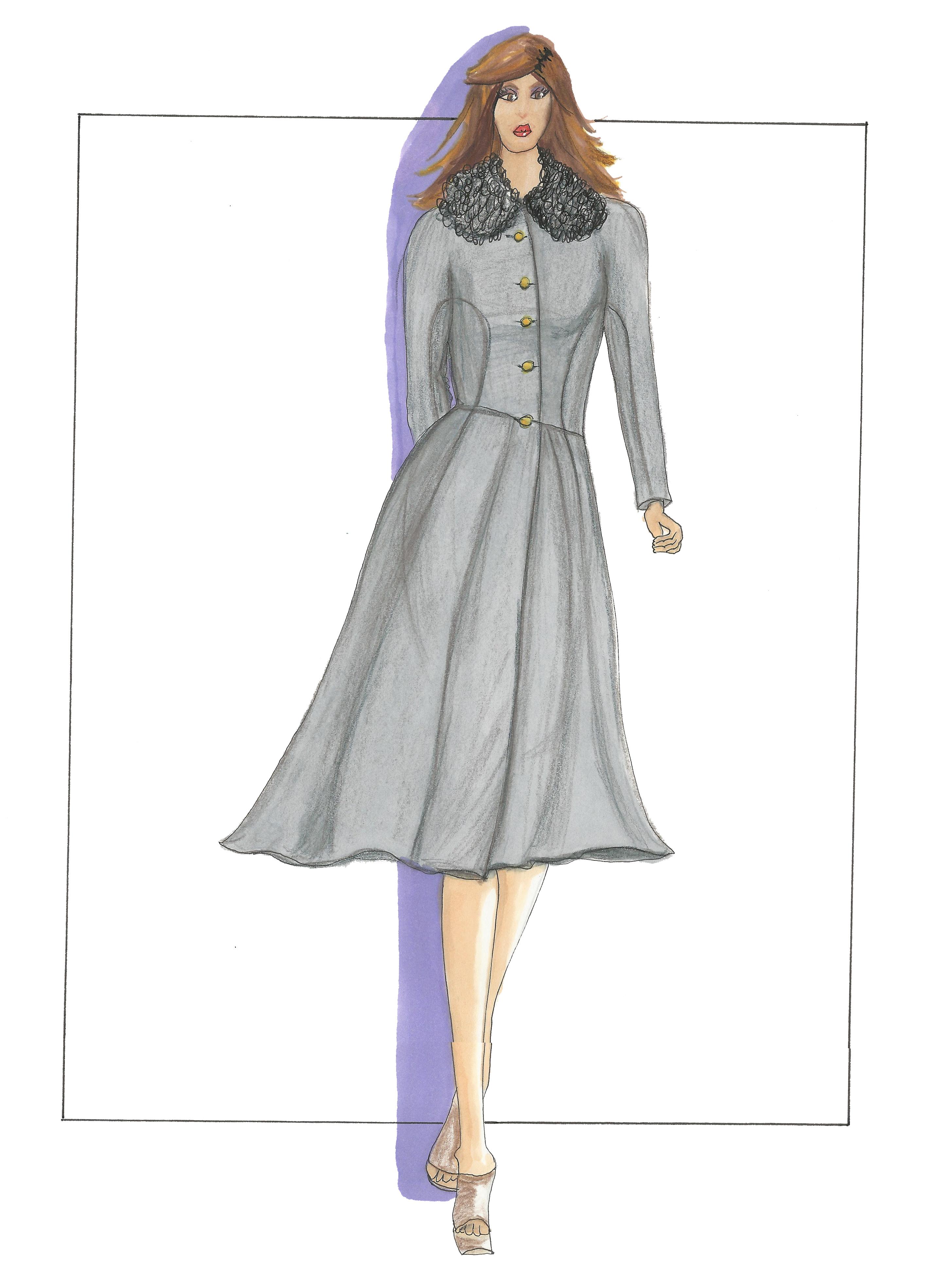 Boucle Collar Coat Sketch