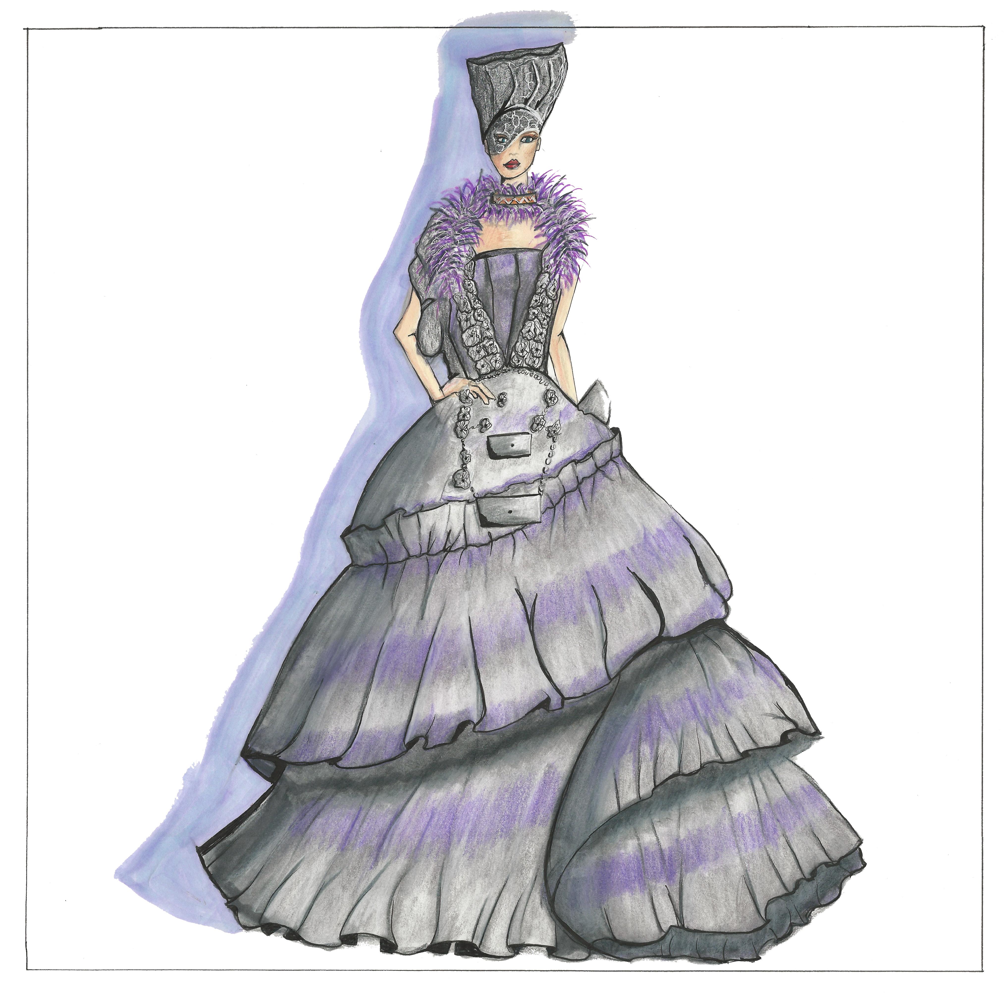 Purple Dress Sketch