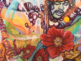 Are You Experienced by Andrea LaHue aka Random Act is from LaHue's New Americana series.  It's painted on canvas, over a map of the Monterey California Area, with a likeness of Jimi Hendrix, in a surreal atmosphere.