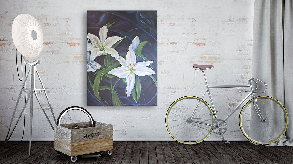 Contemporary fine art oil painting of white lilies by Artist Andrea LaHue aka Random Act.  Blue
