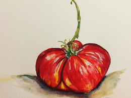 Tomato by Andrea LaHue, watercolor of a fat red tomato